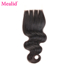 [Mealid] Brazilian Body Wave Closure 3 Part Non-remy Natural Color 8″-20″ Lace Closure Free Shipping
