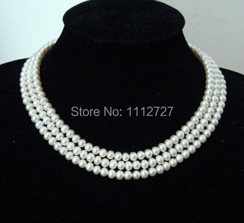 2014 charming Pretty! 3 Rows 8-9mm White Akoya Shell Pearl Necklace Beads Jewelry Natural Stone AAA Grade BV238 Wholesale Price