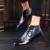 ROEGRE Nuevos Hombres Botas de Cuero De Diseño de Lujo hombres Brogue Moda Casual Moda Los Zapatos de Plataforma Azul Negro de Alta Calidad