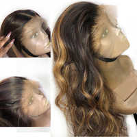 SimBeauty Body Wave Blonde Highlights Lace Front Human Hair Wig Brazilian Remy Pre Plucked With Baby Hair For Women