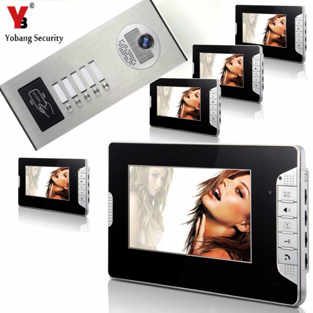 Yobang Security 5 Units Apartment Intercom System Video Intercom Video Door Phone Kit HD Camera 7 Inch Monitor with RFID keyfobs дозатор жидкого мыла grampus laguna gr 7812