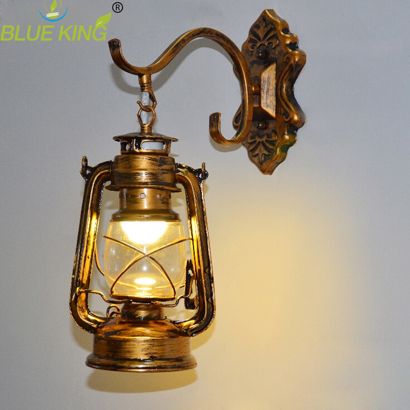 Vintage retro bronze electric iron lantern Kerosene wall lamp E27 for hallway Bathroom bar Vanity night Lights fixture sconce retro european pastoral style lantern kerosene wall lamps e27 lights sconce for restaurant bar bathroom bedside bedroom hallway
