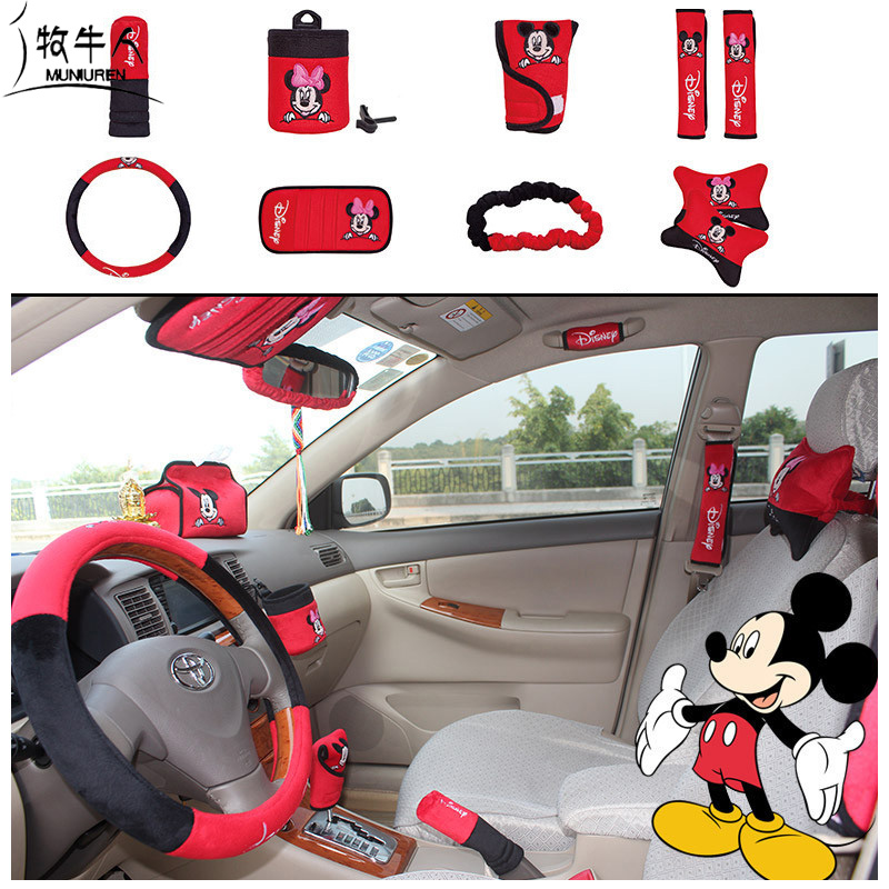 MUNIUREN 10pcs set Cute Cartoon Mickey Car Seat Cover Interior Accessories Plush Universal Steering Wheel Cover
