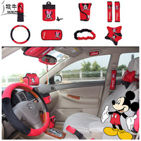 10pcs Cartoon Mickey Minnie Mouse Car Interior Accessories Plush Universal Steering Wheel Cover Set Red
