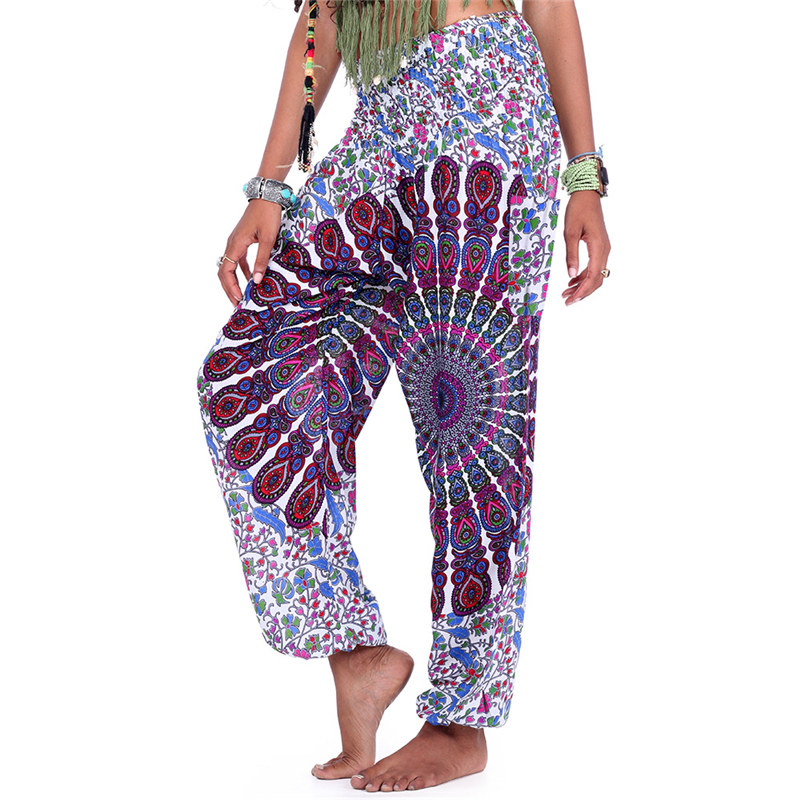 Women Bohemian Harem   Pants   Boho Floral Print   Wide     Leg     Pants   Elasticated Waist Summer Party Wear Femme Sarouel Pantalons