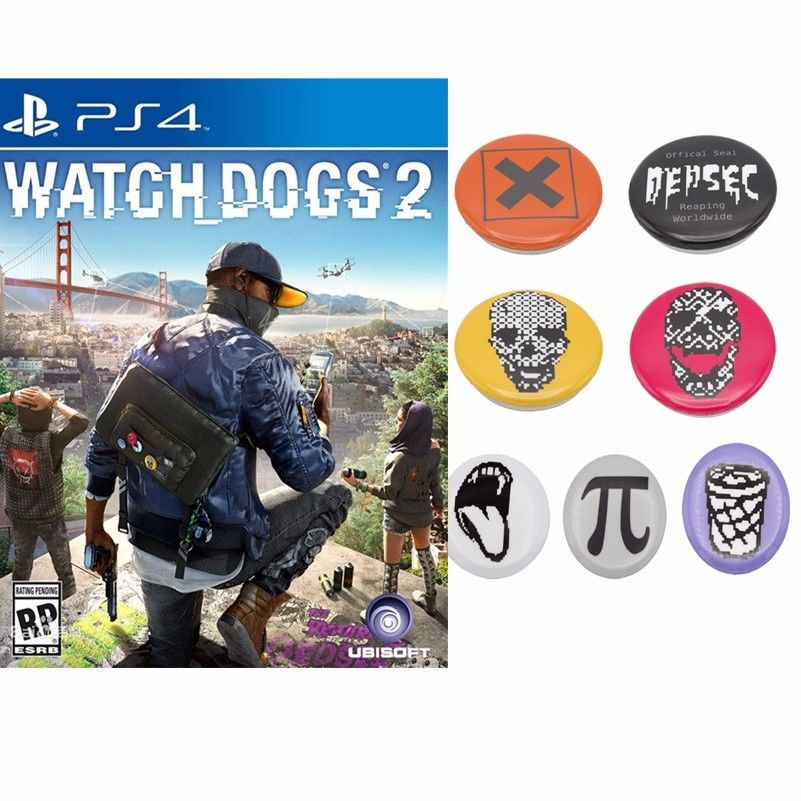 Watch Dogs 2 Badges 7pcs/set Totally Marcus Cosplay Brooches Pins Collectibles Watch Dogs Related Items