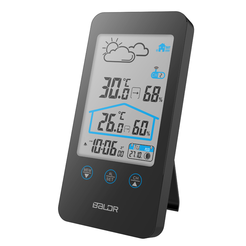 Image 4 - Baldr беспроводной термометр, погода, прогноз, датчик температуры, фаза Луны в/на открытом воздухе, домашний календарь, будильник, повтор, цифровые часы-in Датчики температуры from Дом и животные