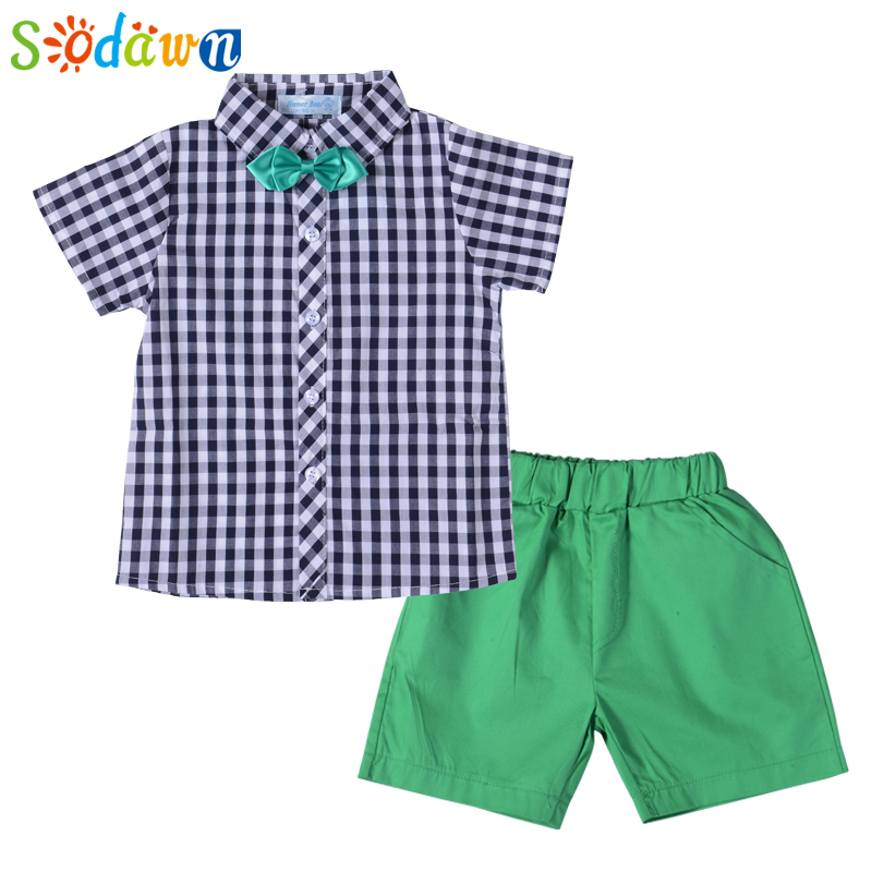 Sodawn Boys Clothing Sets 2017 New Summer Fashion Style Kids Clothing Sets Grid Shirt+Green Pants 2Pcs for Boys Clothes