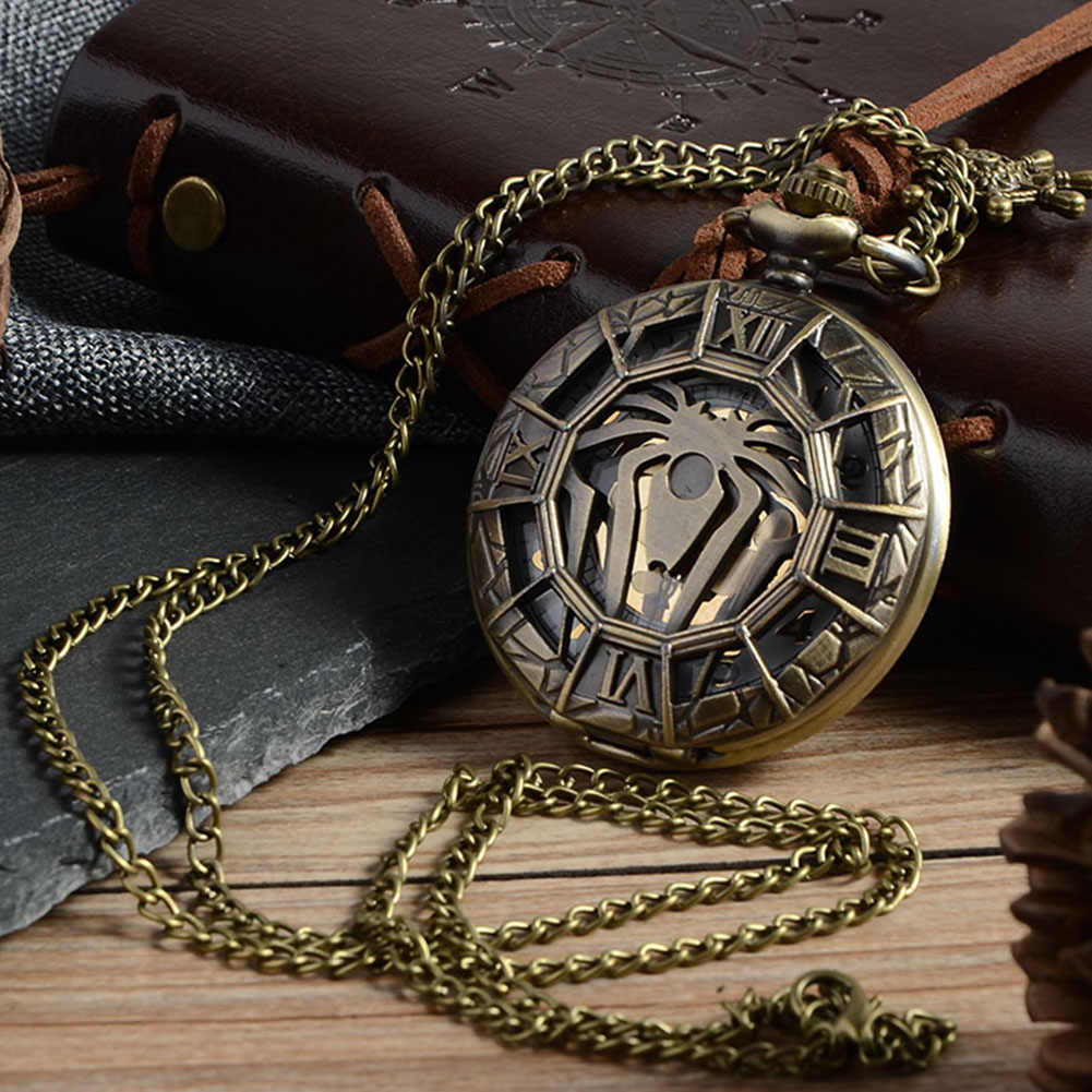Spider-Man Retro Pocket Watch Hollow Steam Punk Pocket Quartz Watch Necklace Gift Super Hero old antique bronze doctor who theme quartz pendant pocket watch with chain necklace free shipping