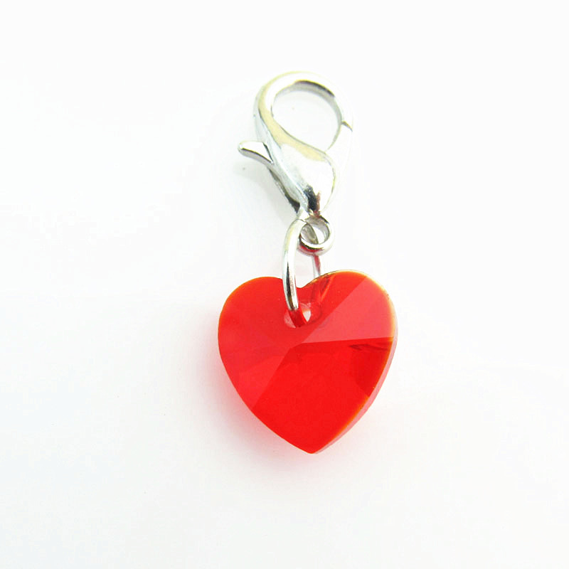 Hot sell floating dangle charm red heart crystal Birthstone ...