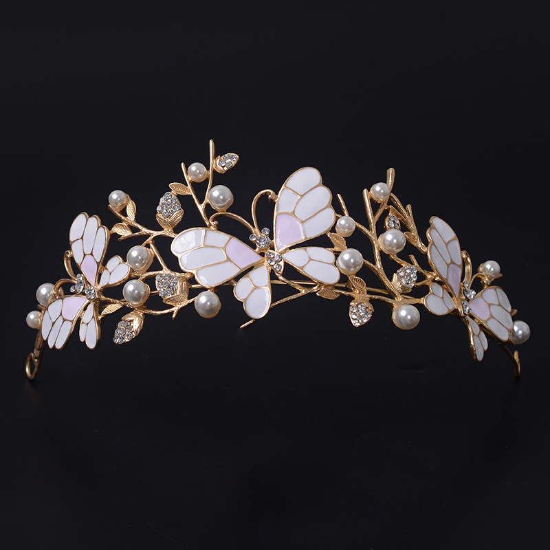 Crown Headband Headpieces Rhinestone Bridal-Tiaras Pearl Bride Butterfly Gold Vintage