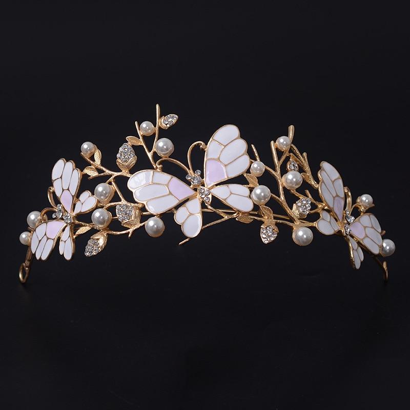 Crown Headband Headpieces Rhinestone Bridal-Tiaras Pearl Bride Butterfly Gold Vintage