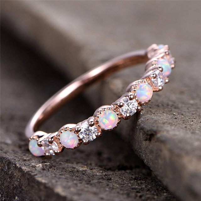 ROMAD CZ Opal Rings Women Wedding Fire Stone Finger Ring Eternity Band for Brida