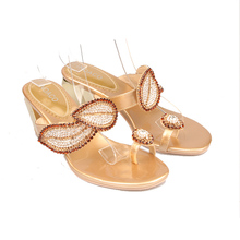 Women Rhinestone High-heeled Sandals Summer New Designer Clip Toe High Heel Slippers Golden Leaves Crystal Shoes Big Size 41 42
