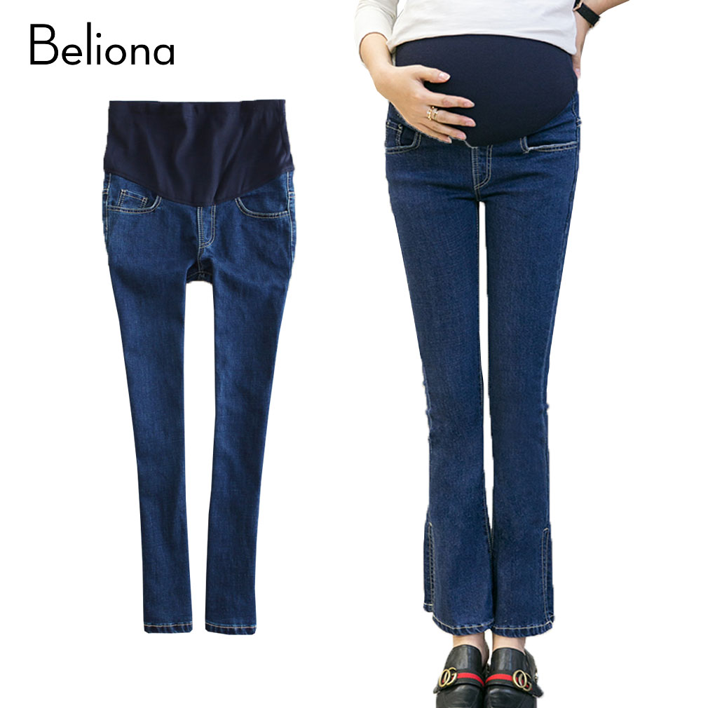 2017 Spring Autumn Maternity Flare Pants Pregnancy Jeans for Pregnant Women  Denim Adjustable Belly Slim Pencil - Online Buy Wholesale Flare Maternity Jeans From China Flare