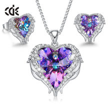 CDE Women Necklace Earrings Jewelry Set Embellished With Crystals Women Heart Pendant Stud Fashion Jewelry Gift(China)