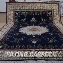 Yilong 11'x15′ Turkish wool thick rug black and beige exquisite wool silk persian carpet (1512)