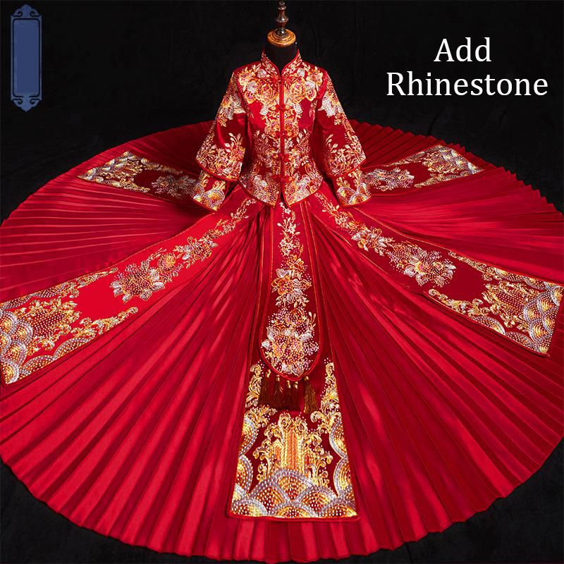 Red Cheongsam Pleated Dress Wedding Rhinestone Evening Gowns Long Sleeve Qipao Royal Chinese Women Stage Show Clothing