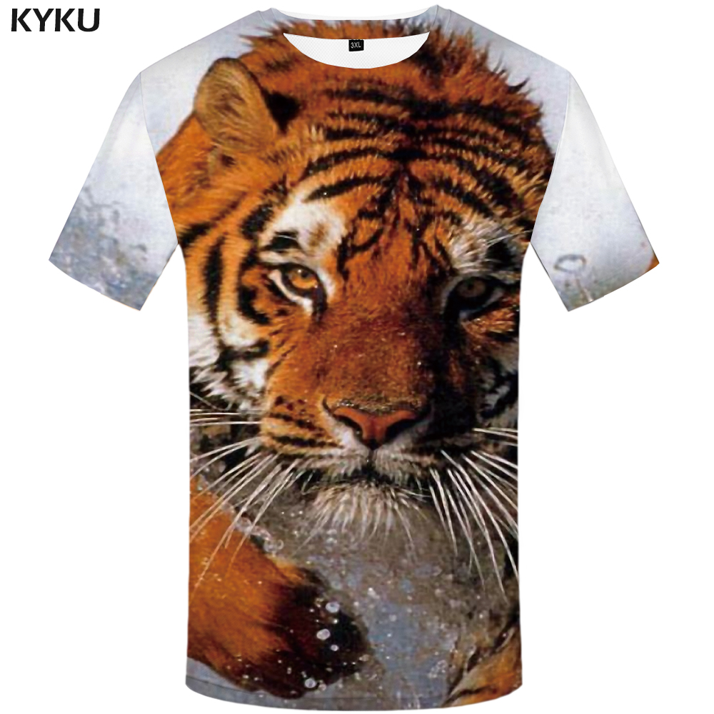 KYKU Tiger T Shirt Water Clothing Animal Shirts Clothes T-shirt Tshirt Men Short Sleeve Tops Tees Fashion XS-8XL