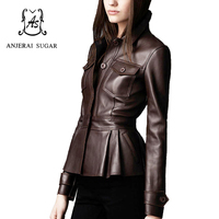 2018 Spring women leather jacket coat Black sheepskin genuine leather motorcycle cloth female sexy OL Slim Button Pleated Jacket