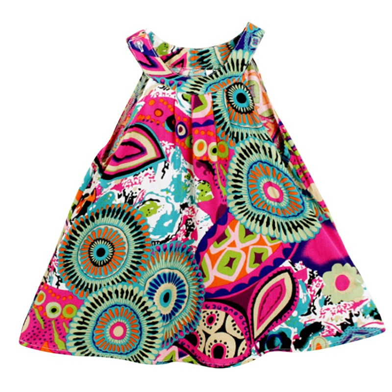Summer Baby Girls Dress Sleeveless Floral Princess Party Dress A-Line Dress Toddle Kids Clothes For 3-8Y
