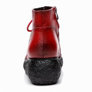 Image 5 - GKTINOO פלטפורמת מגפי נשים בעבודת יד עור אמיתי קרסול מגפי גבירותיי נעלי רך רטרו טריזי נעלי נשים