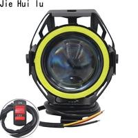 Free Shipping 1pcs 125w Motorcycle Headlight Angel Eye Devil Eye 3000lm Moto Spotlight U7 Led Driving Fog Spot Head Light Lamp