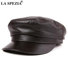 LA SPEZIA Navy Sailor Hat Women Brown Leather Baker Boy Caps Unisex Natural Sheepskin Autumn Winter ManS Military Cap