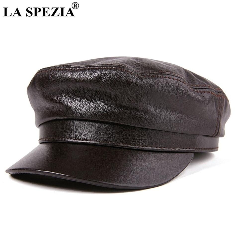 LA SPEZIA marine marin chapeau femmes marron cuir boulanger garçon casquettes unisexe naturel en peau de mouton cuir automne hiver homme casquette militaire