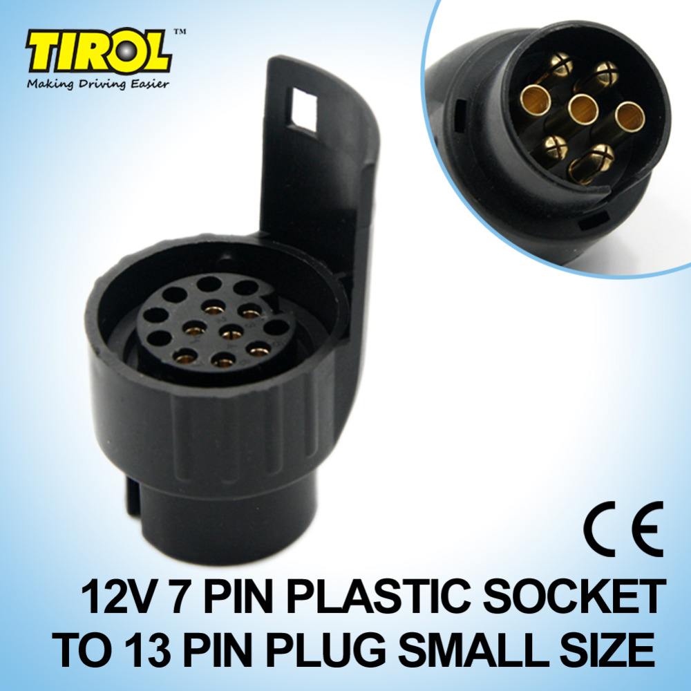 Tirol 7 To 13 Pin Trailer Plug Black Plastic Trailer