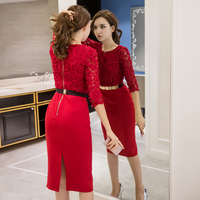 2019 New Runway Women's Lace self portrait ladies Dresses Femme Casual Women Sexy Slim Party Dresses with belt Vestidos robe
