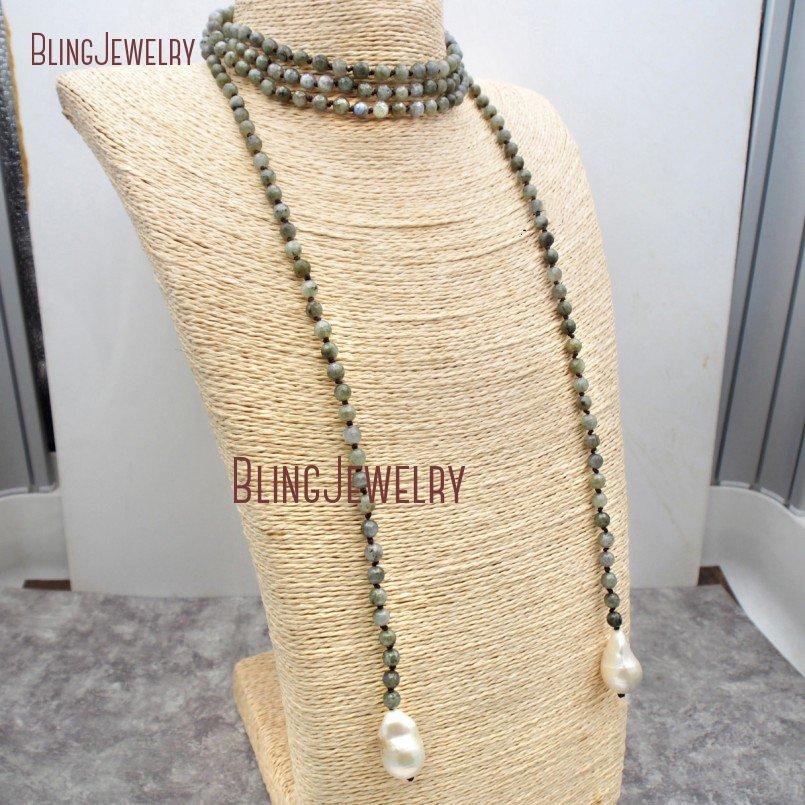 Labradorite perles noeud collier Lariat eau douce Baroque collier de perles NM23735