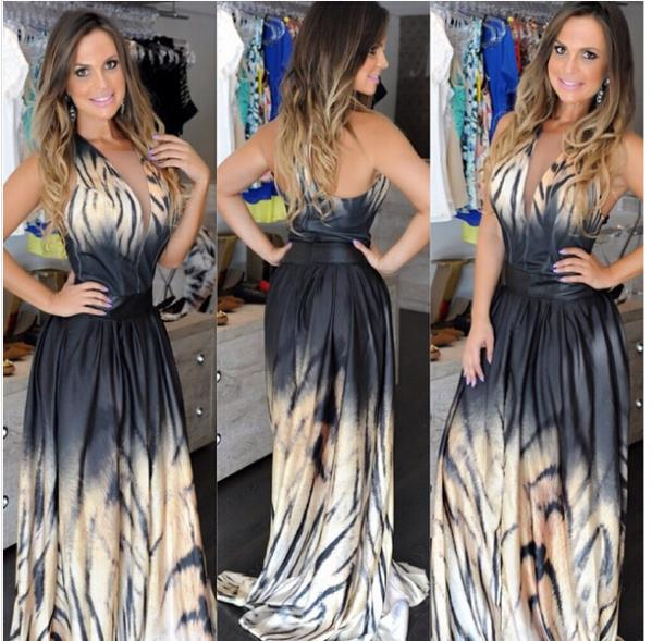 2015 NEW European and American hot selling ladies tiger dress sexes desses