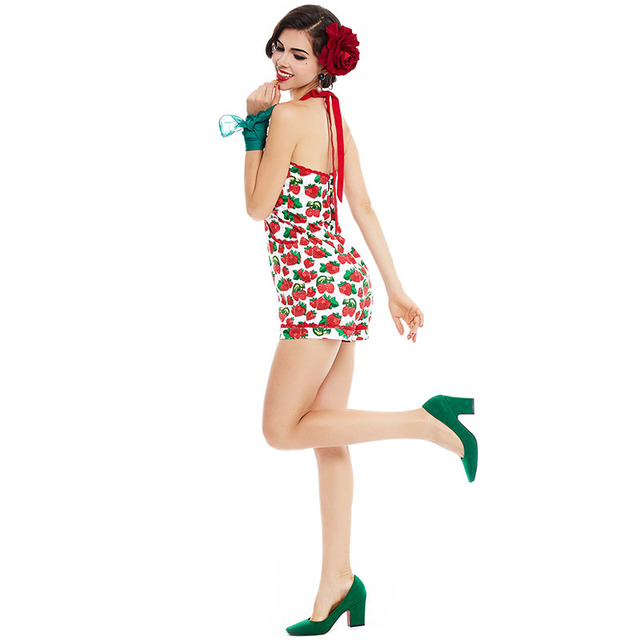 2017 Hot Women Halter Pockets  Backless Strawberry Print Jumpsuits Floral Red Playsuit Suspenders Skinny Sexy  Pin Up Jumpsuit