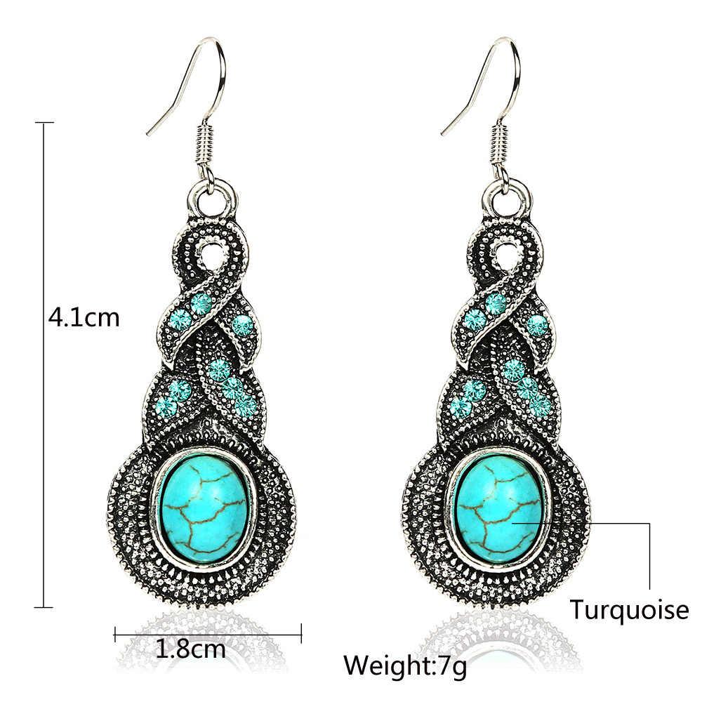 Baru Wanita Perhiasan Tibet Perak Kristal Rantai Liontin Kalung Anting-Anting Merah Set Sepanjang Perhiasan Set untuk Wanita E920N419