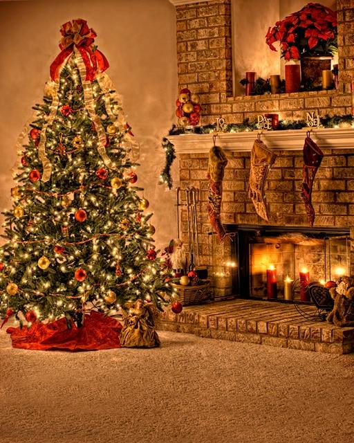 custom vinyl cloth christmas tree fireplace room photography backdrops for children kids party photo studio portrait