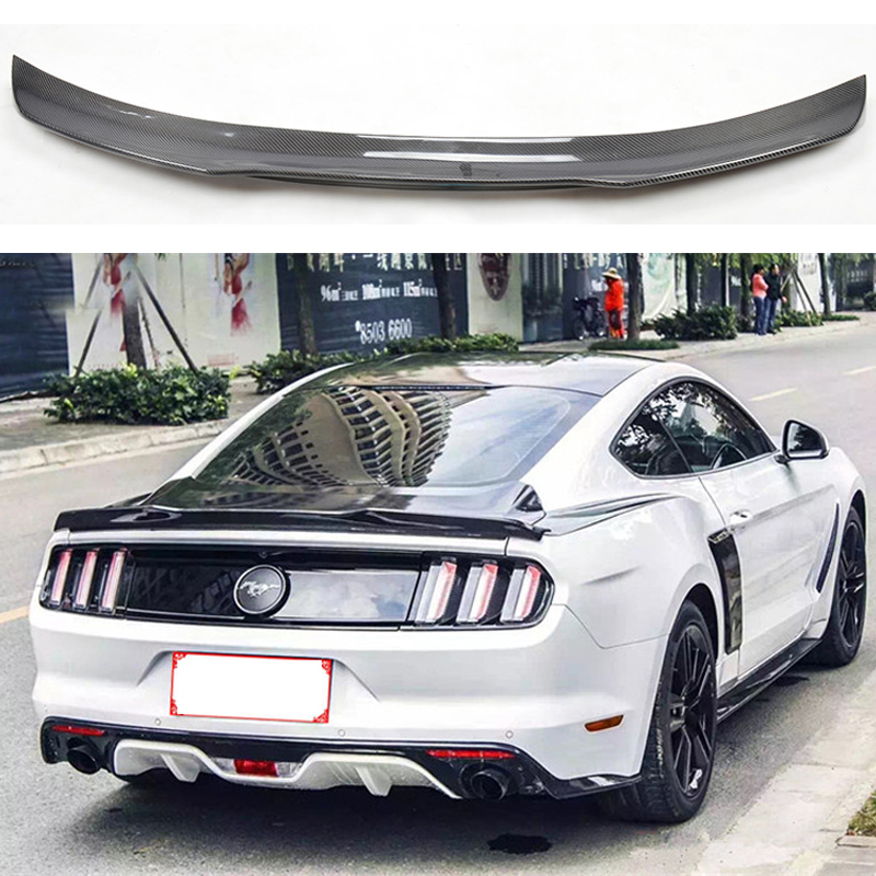 Car Styling Fit For Ford Mustang Coupe 2015 2016 2017 High Quality Carbon Fiber Rear Boot Trunk Wing Lip Spoiler body kits front bumper parts rear diffuser car accessories for ford mustang coupe 2015 2017
