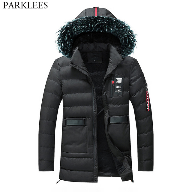 6cacd5fec5 New Trend Black Parka Coat Men Doudoune Homme Hiver 2018 Fashion Big Fur  Hooded Cotton-Padded Down Jackets Coats Mens Outerwear