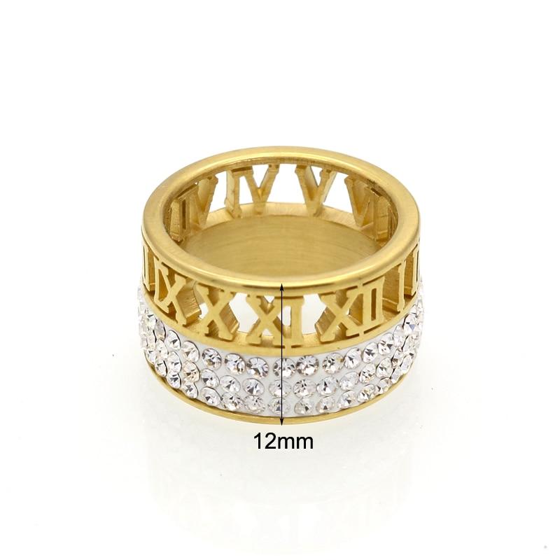 12mm szerokość 3 rzędy kryształowe pierścienie dla kobiet anel - Modna biżuteria - Zdjęcie 3