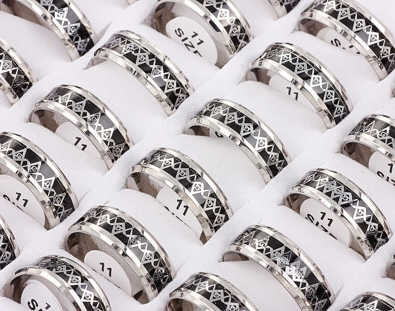 Wholesale Bulk Lots 12Pcs 8MM Stainless Steel Black Freemason Knights Templar Carbon Fiber Inlay Ring Xams Fashion Jewelry