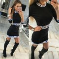 Mujeres de moda de Verano Impresión de la Letra Vestido de Manga Larga Vestido Ajustado Casual Vestido