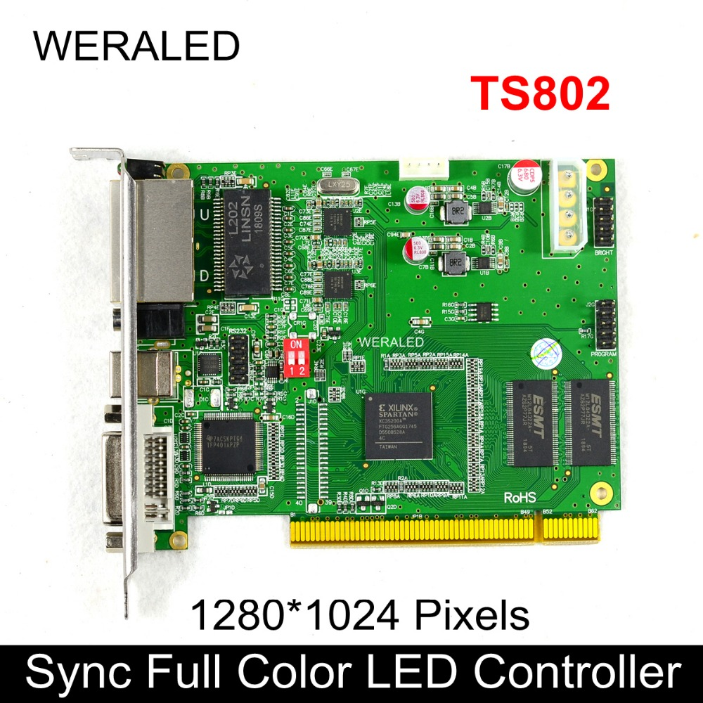 Linsn TS802 Synchronous Full Color Sending Card,LED Video Controller 1024*64 pixels support P2.5 P3 P4 P5 P6 P7.62 P8 P10 LED bx 5q2 u75 usb asynchronous full color led control card with 5 hub75 port p8 p10 p4 p5 p6 p3 rgb led lintel display controller