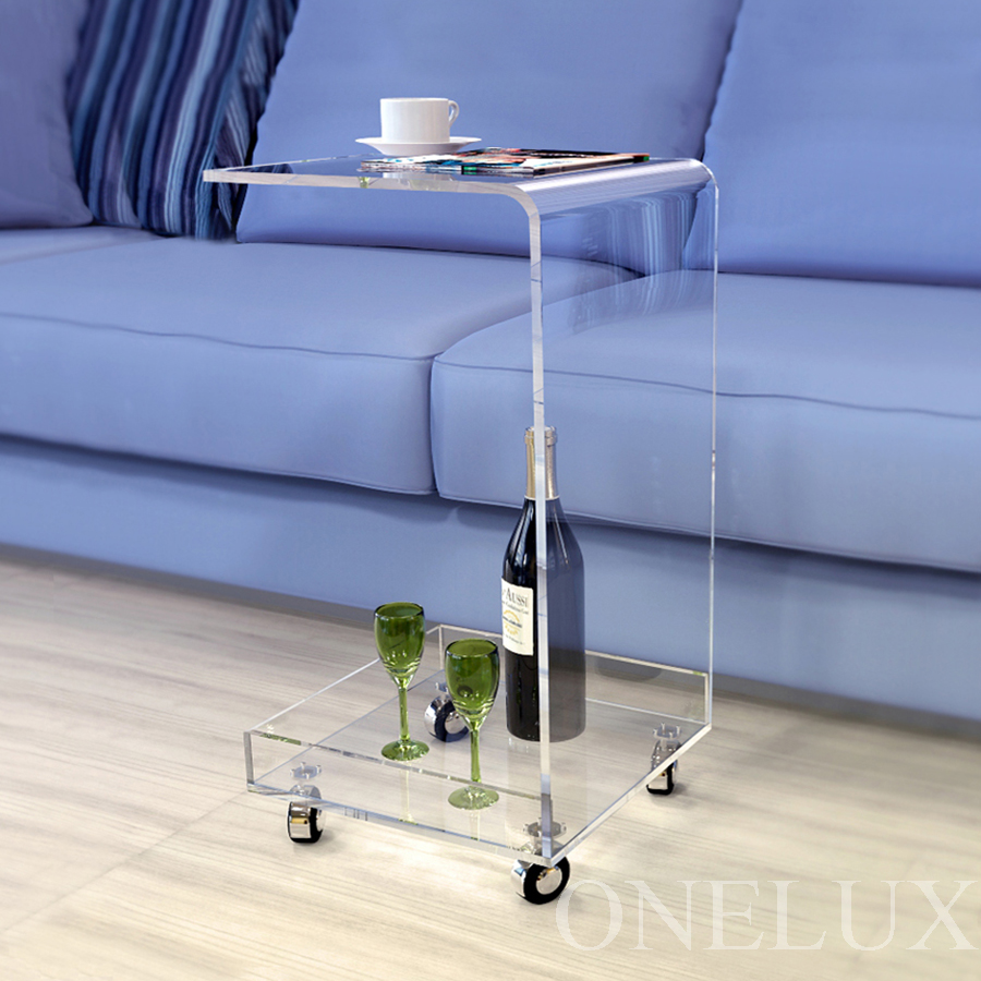 C Shaped Waterfall Acrylic Occasional Side Tray Table On Wheels,Plexiglass Rolling Sofa Tea Tables hot sale c shaped waterfall acrylic occasional side table