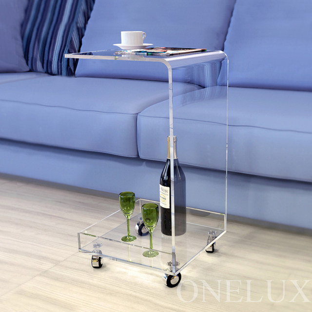 C Shaped Waterfall Acrylic Occasional Side Tray Table On Wheels Rolling Sofa Tea Tables
