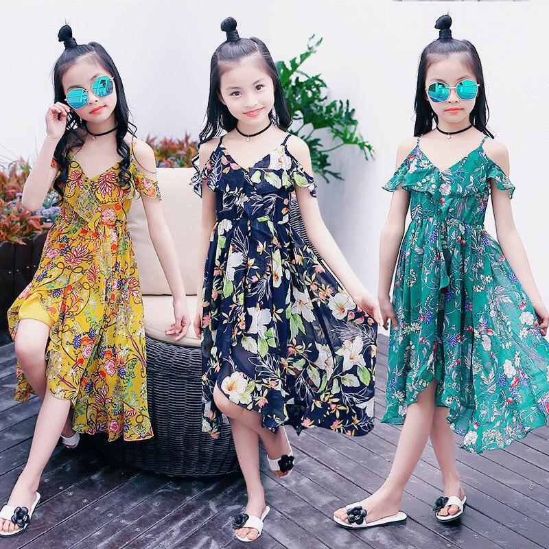 Brand Bohemia Beach Dress for Girls 6 8 10 12 14 Years Kids Green Flower Print Princess Summer Clothing 12C08