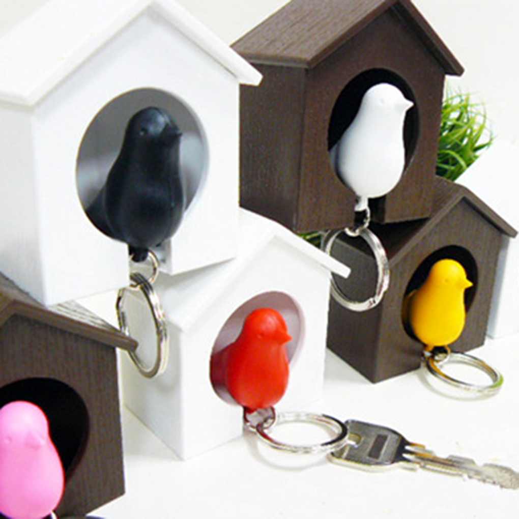 White/Brown Bird Nest Sparrow House Key Chain Ring Whistle Wall Hook Holders Color Random