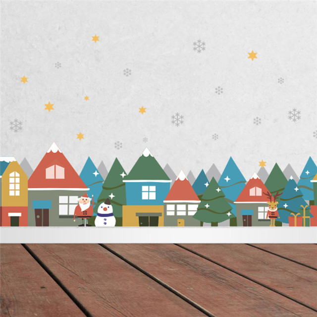 Christmas Village Snowflake Wall Sticker Decals Store ...