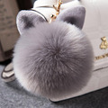 2016 Fur Pom Pom Keychain Fake Rabbit fur ball key chain porte clef pompom de fourrure pompon Bag Charms bunny keychain Keyring