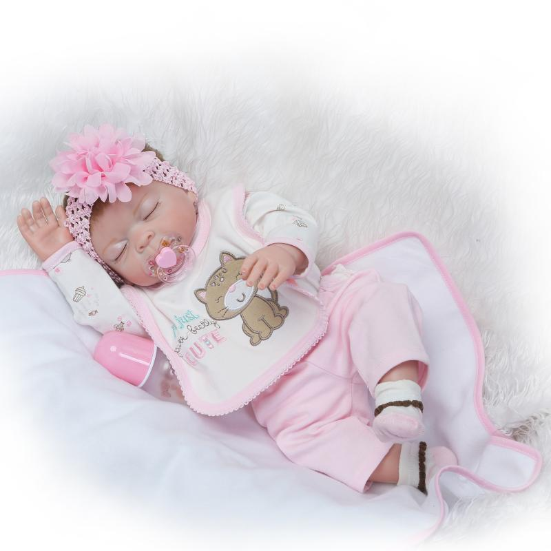Nicery 22inch 55cm Bebe Reborn Doll Hard Silicone Boy Girl Toy Reborn Baby Doll Gift for Children Gray Cat Pink Flowers Baby nicery 18inch 45cm reborn baby doll magnetic mouth soft silicone lifelike girl toy gift for children christmas pink hat close