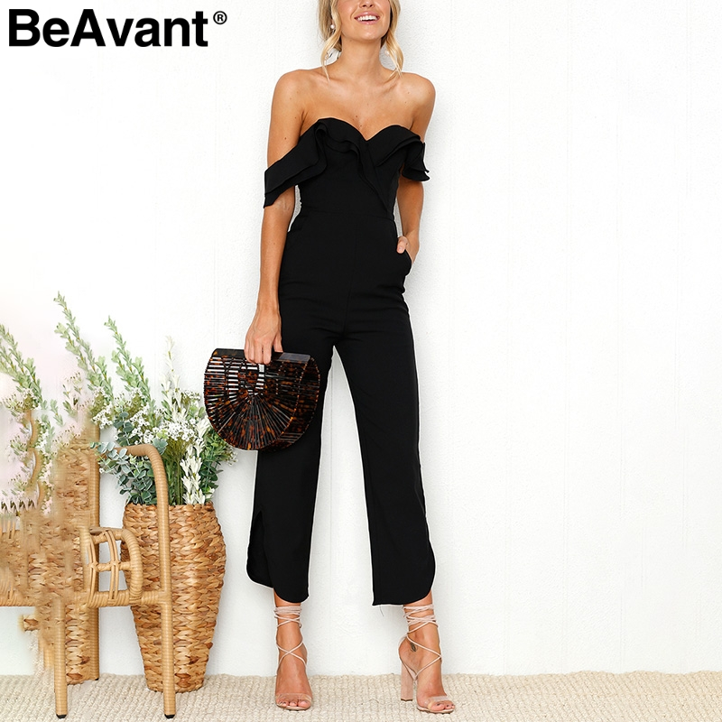 BeAvant Sexy backless off shoulder black jumpsuit women Tiered ruffle high waist jumpsuit romper Split casual overall femme